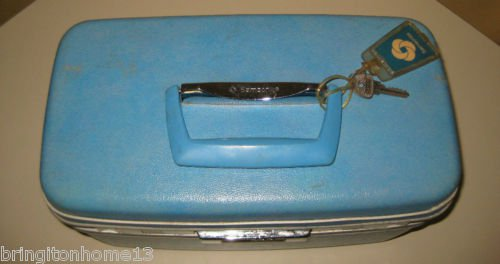 Vintage Samsonite Silhouette Luggage Beauty Travel Train Case w/Mirror Blue