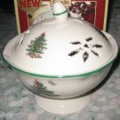 "Spode Christmas Tree-Green Trim Open Pierced Potpourri 6"" S3324-A11 NIB"