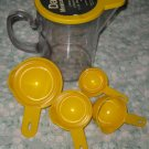 DANSK MEASURING SET 1 1/2 QUART PITCHER CUPS YELLOW WITH LID 70'S VINTAGE