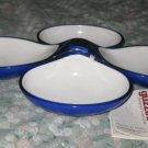 Guzzini Interlocking Serving Bowls Dishes Blue White 2 Two Tone w/Tag Italy Set