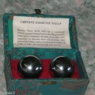 Chinese Cloisonne Baoding BallS IN BOX  w/Instructions Vintage Meditation Relax