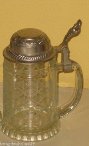 Vintage BMF German Cut ETCHED Glass Beer Stein Ornate ORNAMENTAL Pewter Lid