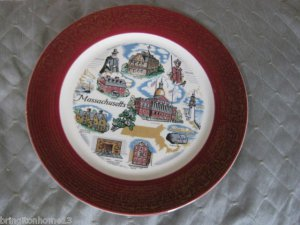 "VINTAGE MASSACHUSETTS STATE SOUVENIR COLLECTOR PLATE 9 1/2"" SANDERS MFG."