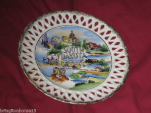VINTAGE SOUTH DAKOTA STATE SOUVENIR COLLECTOR PLATE WALES DESIGN PATENTED 8 1/4