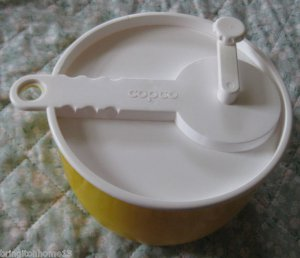 COPCO Salad Spinner Yellow & White, #604 Sam Lebowitz Design VINTAGE PAT PEND