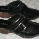 "MICHAEL MICHAEL KORS COLLECTION BLACK STUDDED CLOGS 2"" HEEL BUCKLE SIZE 10"