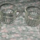 SET OF 4 FOUR Fortecrisa CLEAR RIBBED DEPRESSION GLASS GLASSES COFFEE TEA CUPS