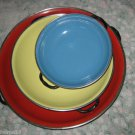 SET OF 3 Vintage Mid Century Shallow Enamelware Pans RED YELLOW BLUE Yugoslavia