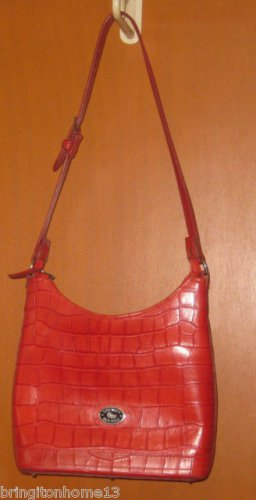 DOONEY & BOURKE RED CROCO SHOULDER HANDBAG HOBO PURSE