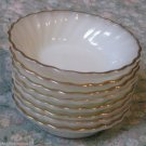 8 ANCHOR HOCKING WHITE SWIRL GOLDEN SHELL DESSERT BERRY BOWLS GOLD TRIM VINTAGE