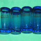 Sold 4 TEQUILA CORRALEJO SHOT GLASSES COBALT BLUE HANDBLOWN 2 OZ+ HEAVY 4 INCHES NICE