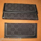 GUCCI SIGNATURE MONOGRAM WALLET CHECKBOOK BLACK ITALY CANVAS LEATHER