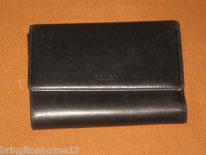 COACH WALLET CLUTCH BLACK LEATHER COIN CREDIT BILL CREDIT CARD WOMAN'S VINTAGE