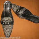 Coach JUDIE Black Signature Leather Buckle Mules Slides Heels Shoes Size 7 B