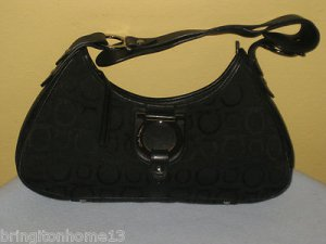 Salvatore Ferragamo Black Silver Logo Leather Fabric Shoulder Bag Tote Italy