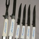 VINTAGE REGENT SHEFFIELD ENGLAND CARVING FORK & KNIFE SET WITH 4 STEAK KNIVES