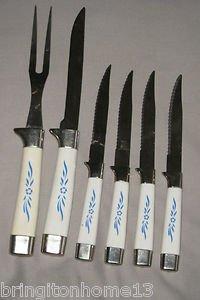 VINTAGE REGENT SHEFFIELD ENGLAND CARVING FORK & KNIFE SET WITH 4 STEAK KNIVES
