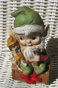 HOMCO ELF CHRISTMAS SANTA'S HELPER TOY MAKER #5406 VINTAGE MARKED