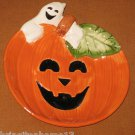"""Sold OMNIBUS FITZ AND FLOYD GHOST PUMPKIN CANAPE PLATE DISH 7""""  HALLOWEEN LOOKS NEW"""