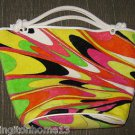 EMILIO PUCCI Print Peacock Pattern Terry Tote Handbag Beach Purse Italy Leather