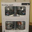 Sold LUMINARC DOUBLE OLD FASHIONEDS SET OF 4 BOWLING NIGHT GLASSES BALL BAG PIN NEW
