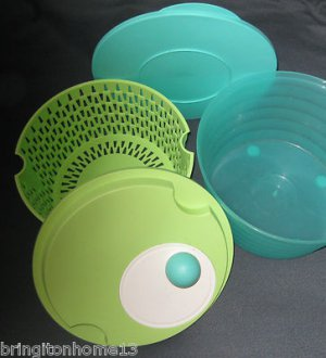 Tupperware Spin 'N Save Salad Spinner and Washer Herb Cleaner Blue Green Lettuce