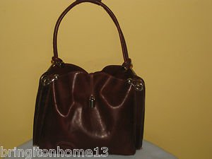 La Sella Roma Leather Brown Handbag Shopper Bag Italy Handmade 28945 SB INITIALS