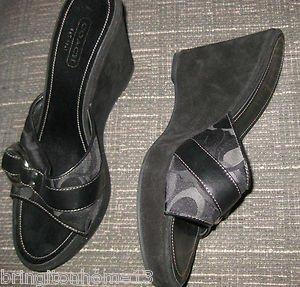 Coach Meredith Slides Sandals Shoes Heels Signature Size 9 1/2 9.5 Black Suede