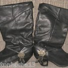 ZODIAC BLACK LEATHER BOOTS MID CALF VINTAGE 1980S COWBOY FOLD DOWN SIZE 8 1/2 M