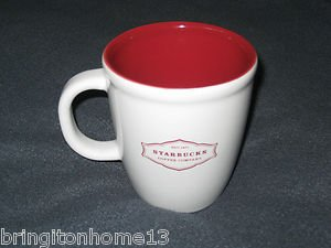 2006 Starbucks Est. 1971 Abbey 13 Oz Mug Coffee Cup White / Red Inside Lettering