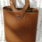 BOSCA FULL GRAIN LEATHER FLASK HOLDER SNAP CLOSURE BROWN VINTAGE