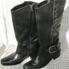 Harley Davidson Black Studded Knee High Leather Upper Riding Biker Boots Size 6
