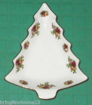 Royal Albert Christmas Tree Serving Dish Cookie Plate Old Country Roses 1962 HTF