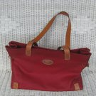 DOONEY & BOURKE MEDIUM TOTE SHOPPER HANDBAG PURSE RED FABRIC LEATHER