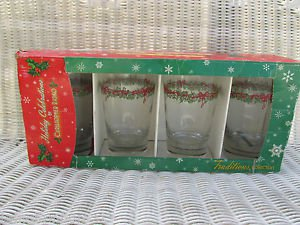 Traditions Holiday Celebrations FOUR Glasses/Tumblers Christopher Radko Box 2002