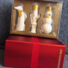Starbucks 2012 Christmas Ornaments White Gold FOX-NUTCRACKER-SNOWMAN Set/3 NEW