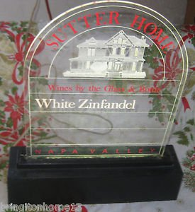 SUTTER HOME WINE WHITE ZINFANDEL ADVERTISNG LIGHTED SIGN DISPLAY BAR NAPA VALLEY
