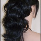 Black ponytail clip on hair piece pony extension fall