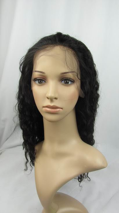 """indian remy human hair front lace wig 16"""" 1# deep wave"""