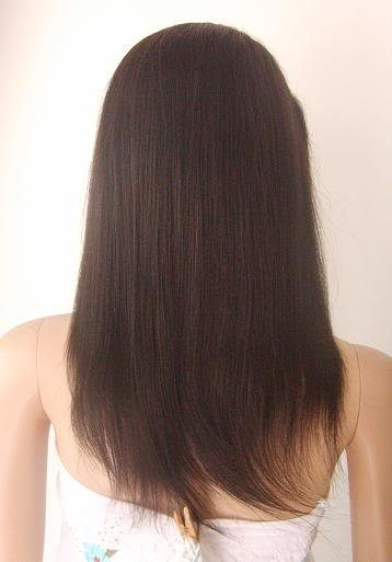 """front lace wig remy human hair 16"""" 1b# yaki straight"""