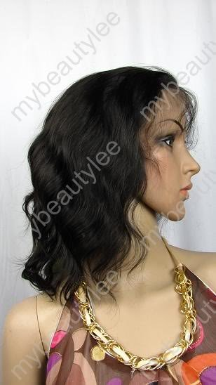 "indian remy human hair full lace wig 10"" 1b# water wave"