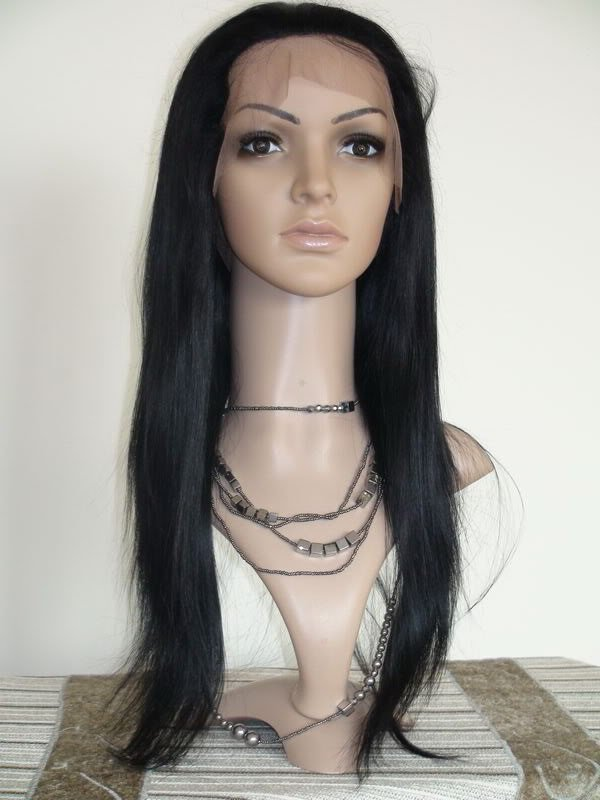 """front lace wig remy human hair 20"""" 1# silky straight"""