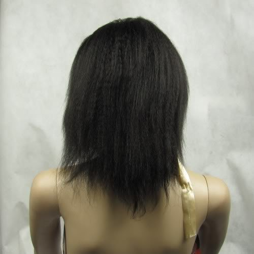 """indian remy human hair full lace wig 10"""" 1b# kinky"""