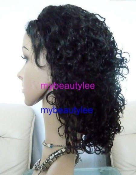 "10"" indian remy human hair front lace wig 1b# curly"