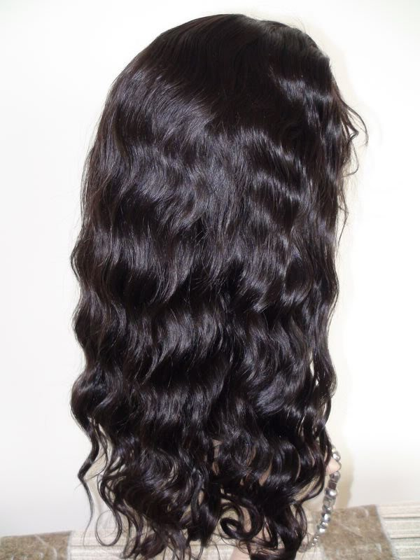 full lace wig remy indian human hair bodywave 14''1b#