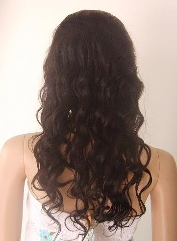 """full lace wig indian remy human hair 18"""" 1b# body wave"""