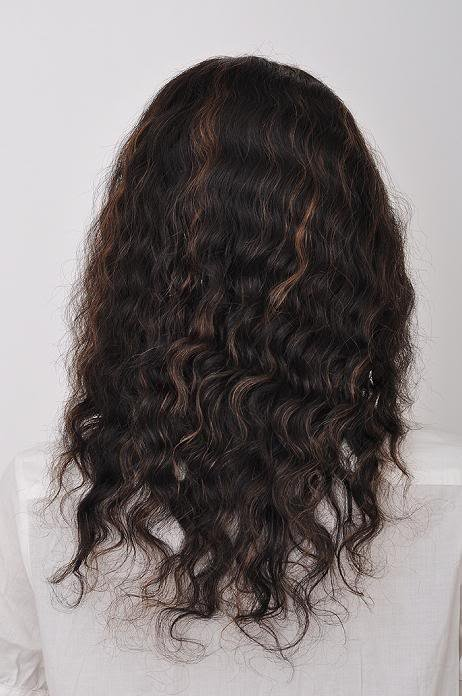 "front lace wig remy human hair 14"" 1b-30# deep wave"