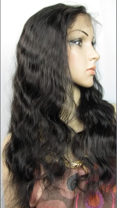 """22"""" body wave indian remy human hair full front lace wig 1b#"""