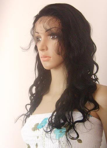 "indian remy human hair 18"" 1# body  wave front lace wig"
