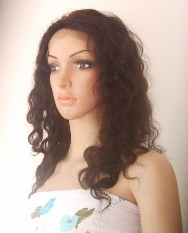 "indian remy human hair 16"" 1b# deep wave full lace wig"